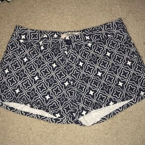 Navy Blue and White Patterned Shorts